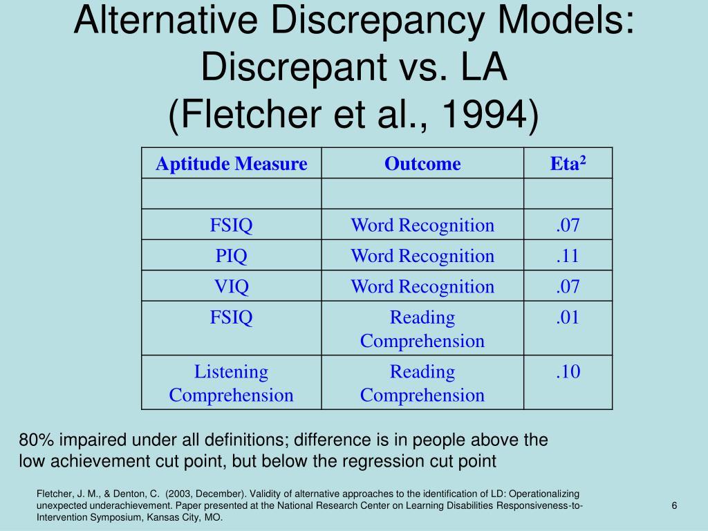 Alternative Discrepancy Models: Discrepant vs. LA