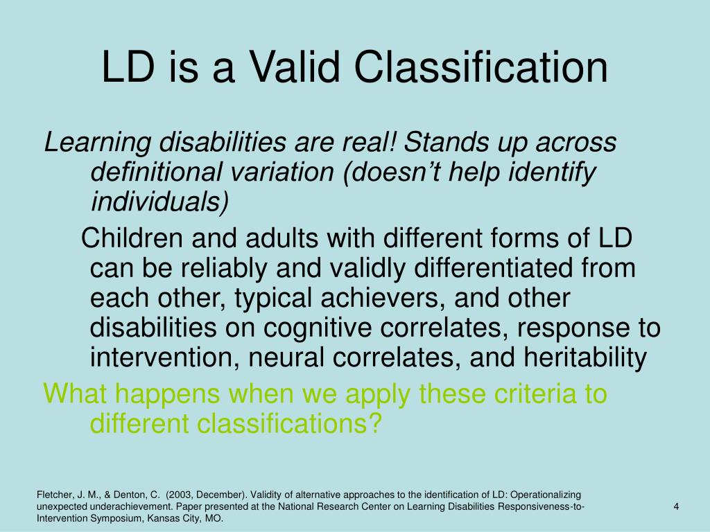 LD is a Valid Classification