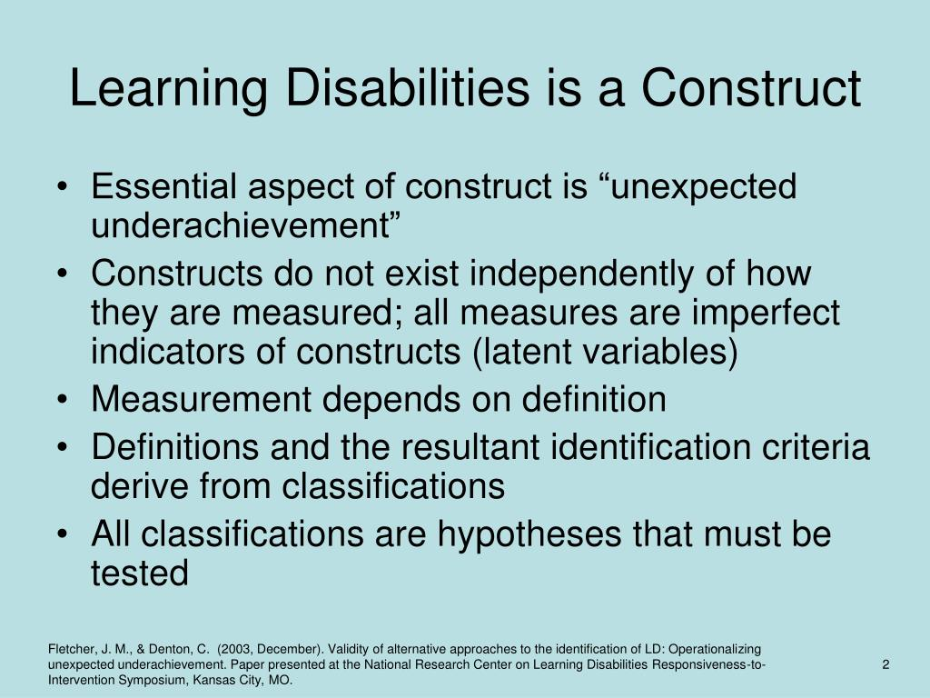 Learning Disabilities is a Construct