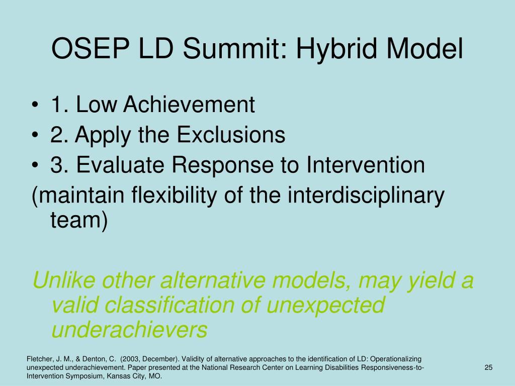 OSEP LD Summit: Hybrid Model