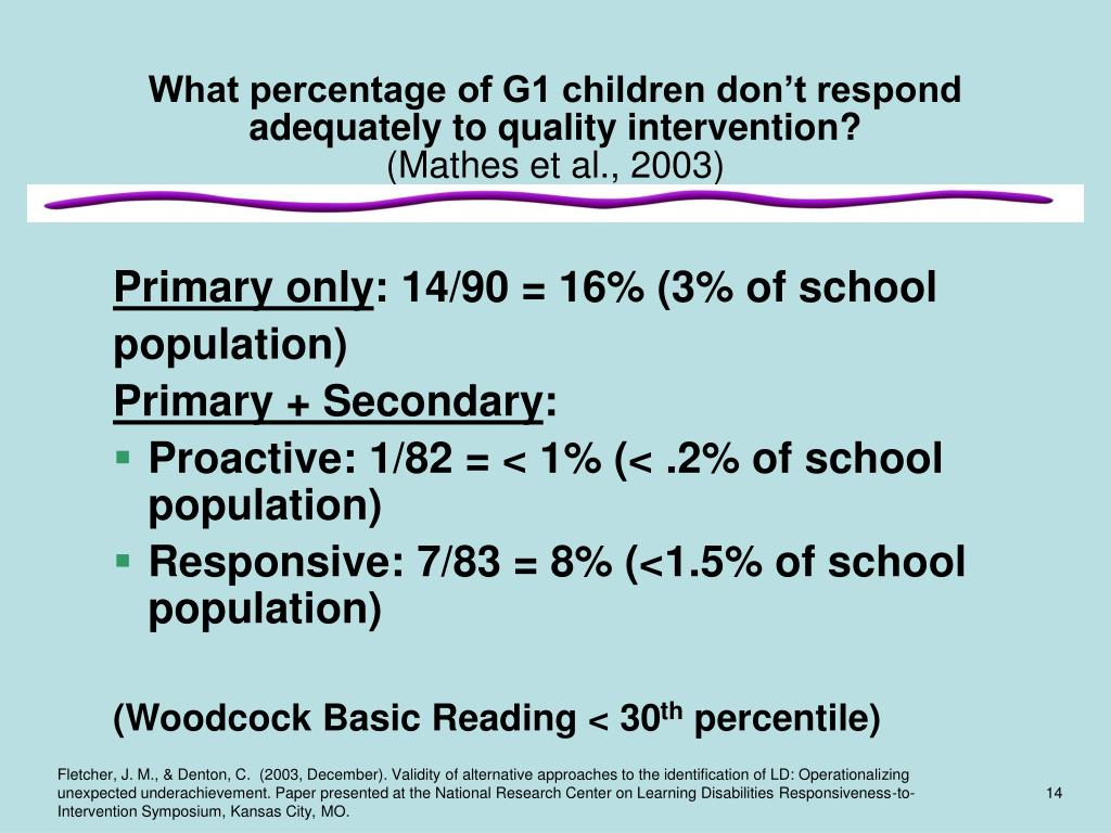 What percentage of G1 children don't respond adequately to quality intervention?