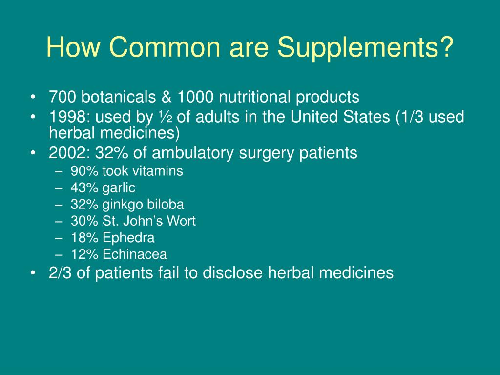 How Common are Supplements?