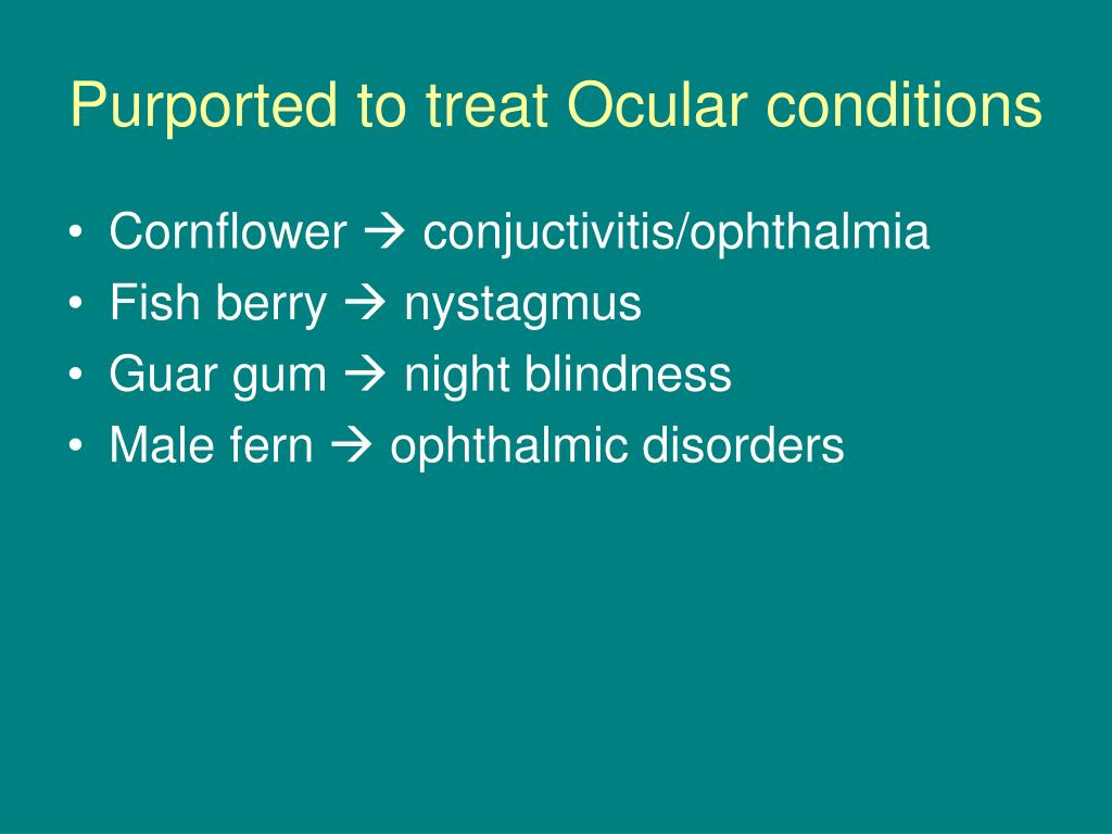 Purported to treat Ocular conditions