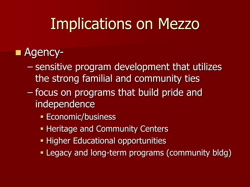 Implications on Mezzo