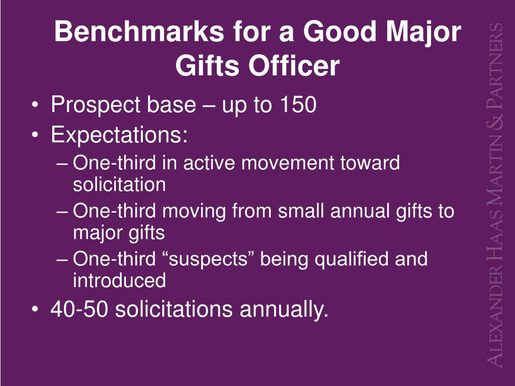 Benchmarks for a Good Major Gifts Officer