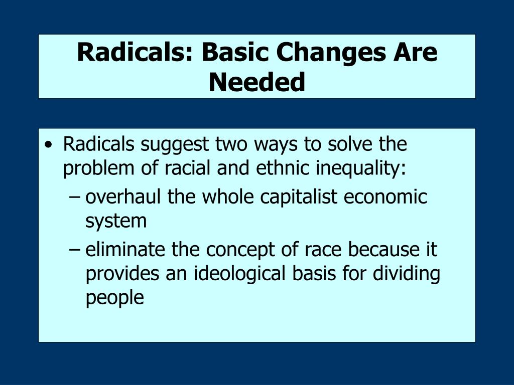 Radicals: Basic Changes Are Needed