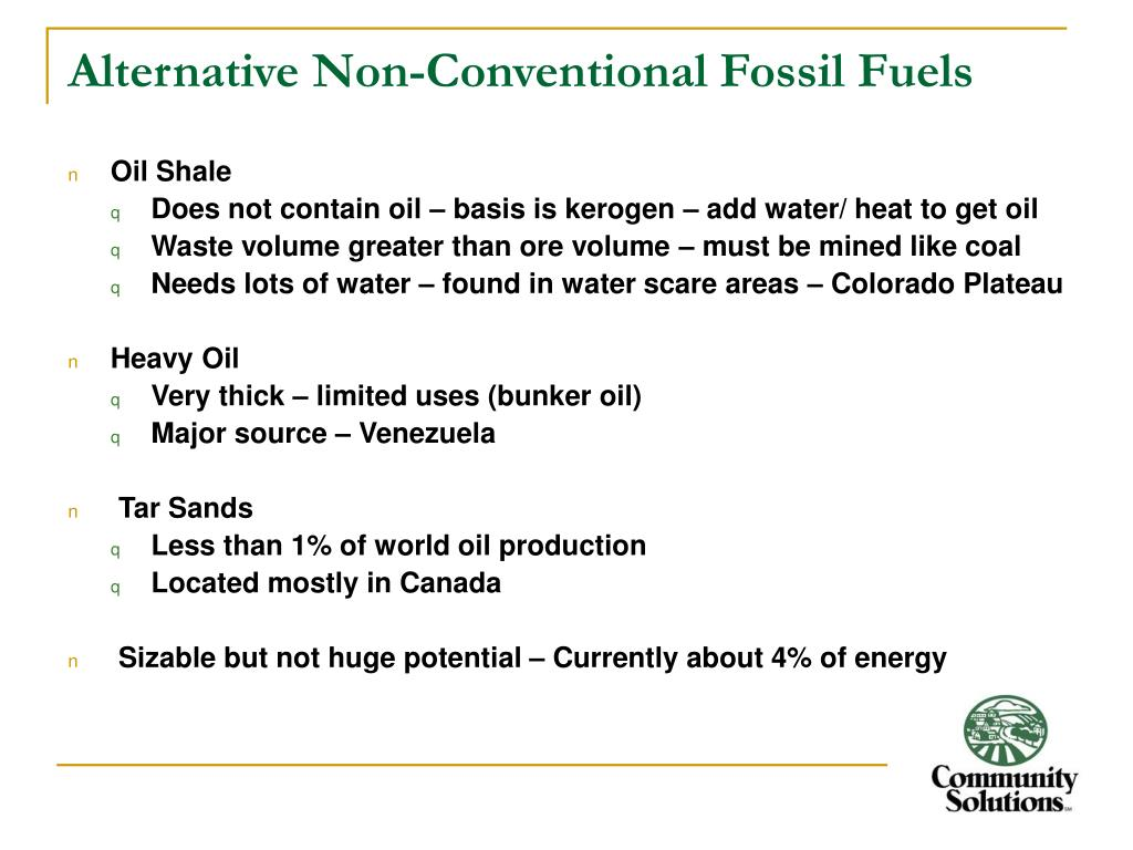 Alternative Non-Conventional Fossil Fuels