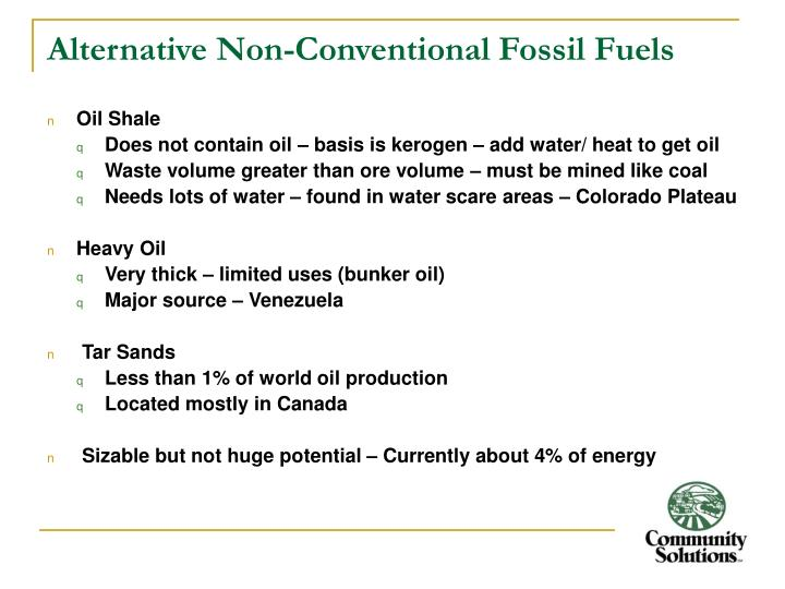 Alternative non conventional fossil fuels