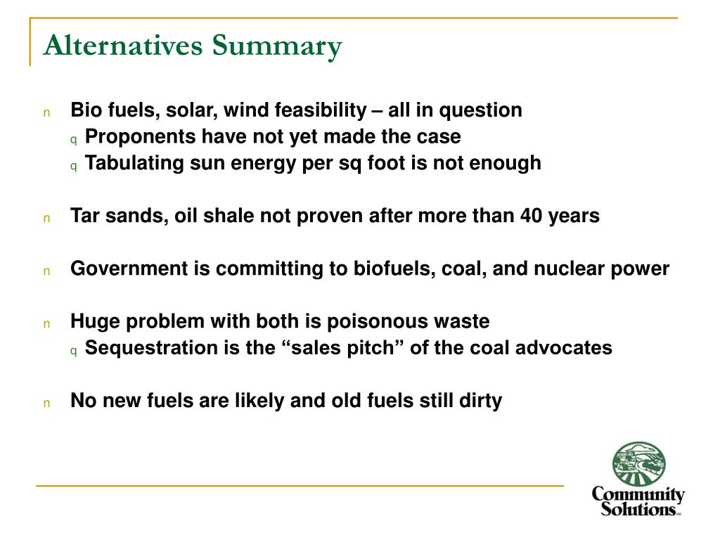 Alternatives Summary