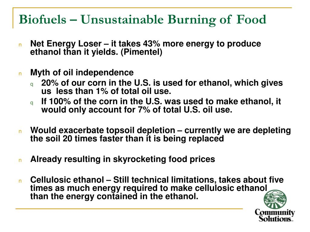 Biofuels – Unsustainable Burning of Food