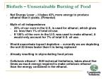 biofuels unsustainable burning of food
