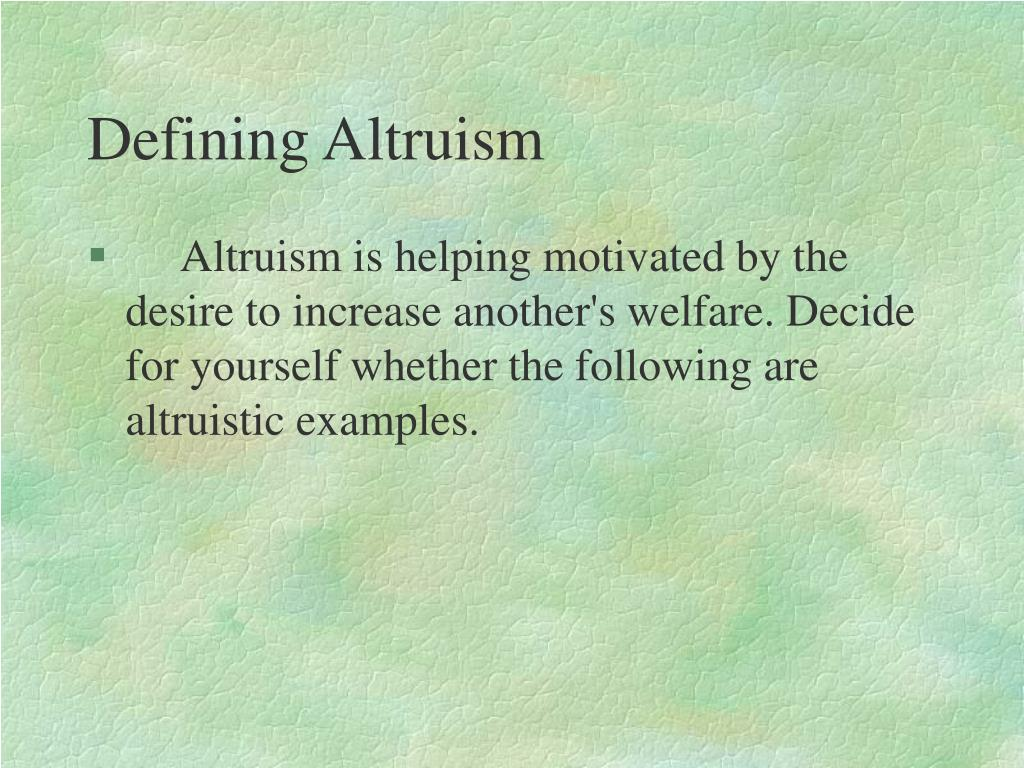 Defining Altruism