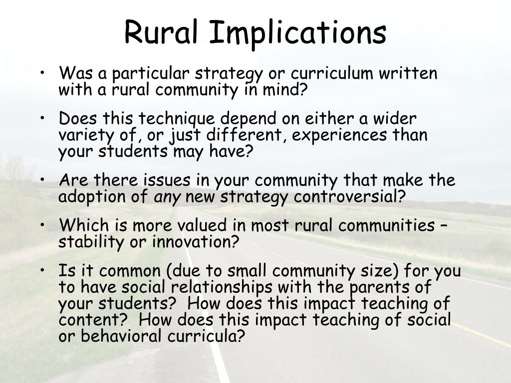 Rural Implications