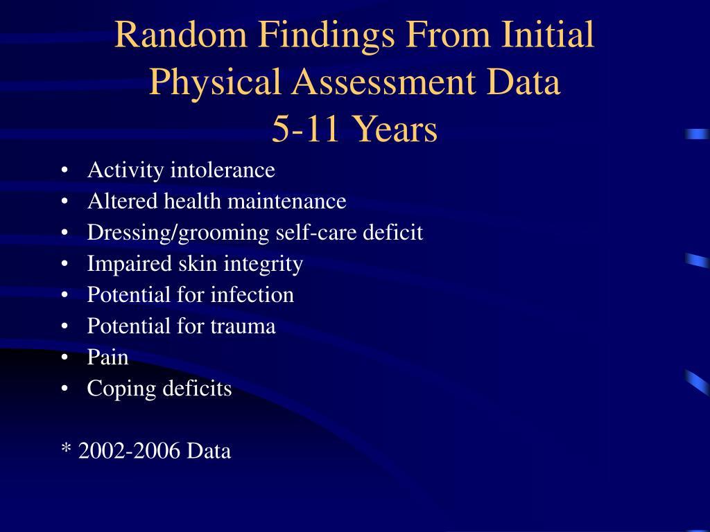 Random Findings From Initial Physical Assessment Data