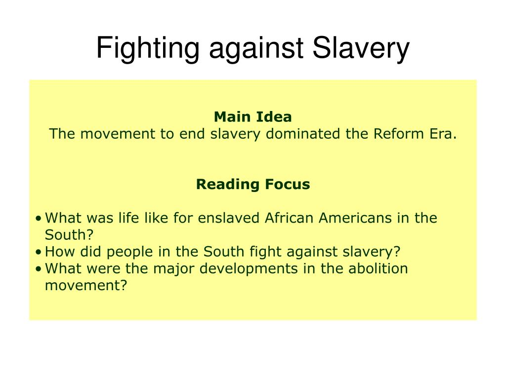 Fighting against Slavery
