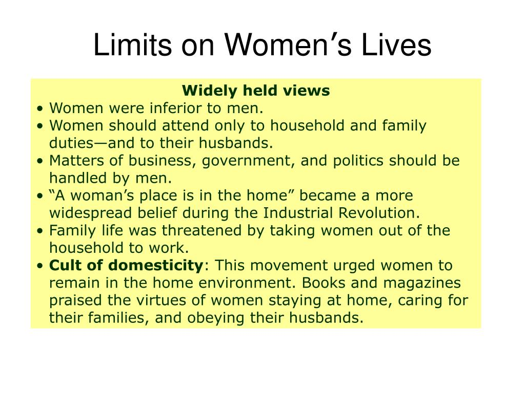 Limits on Women