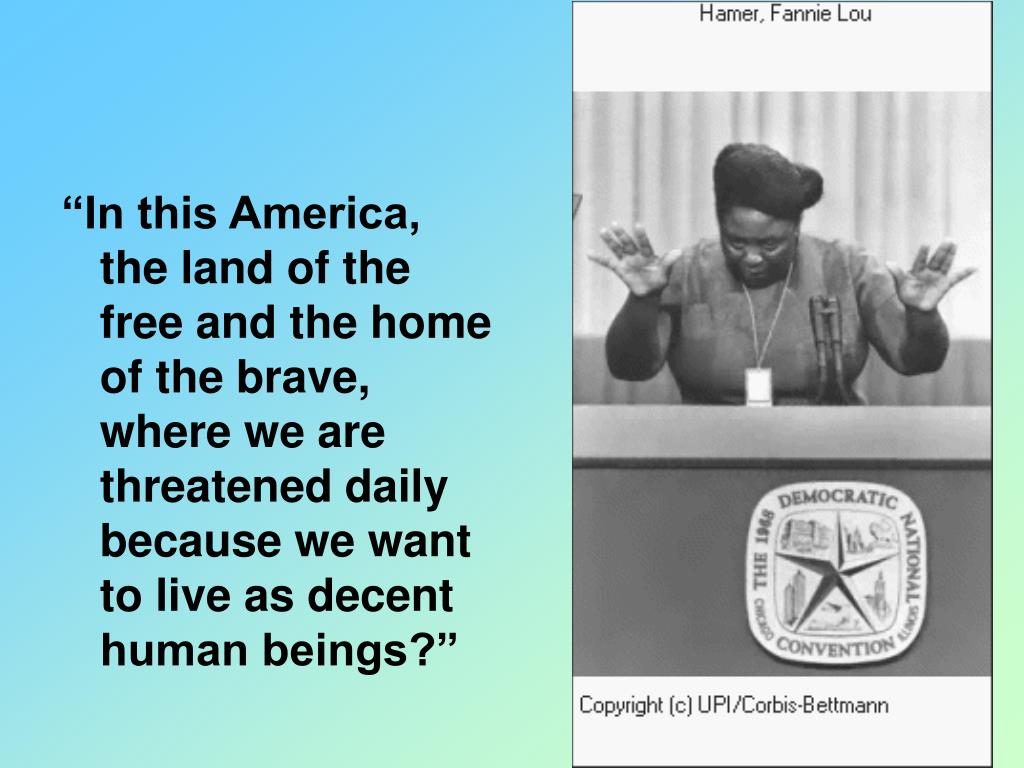 """In this America, the land of the free and the home of the brave, where we are threatened daily because we want to live as decent human beings?"""