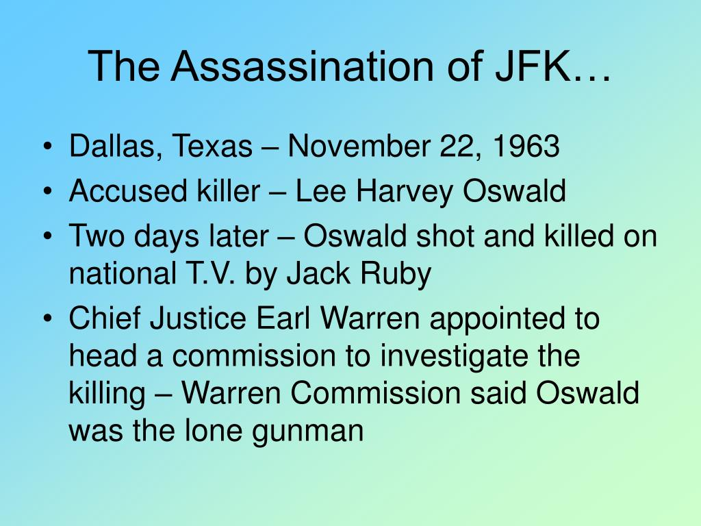 The Assassination of JFK…