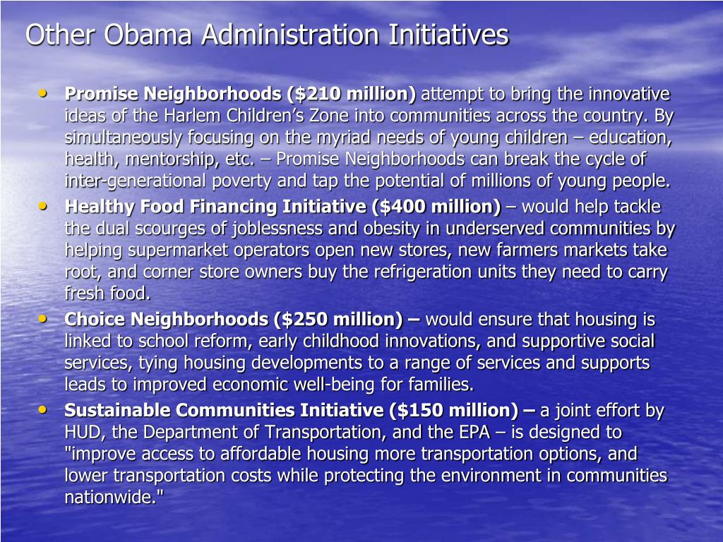 Other Obama Administration Initiatives