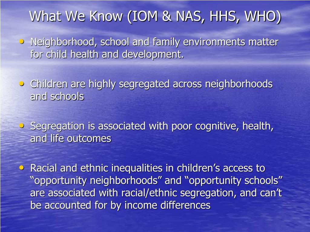 What We Know (IOM & NAS, HHS, WHO)
