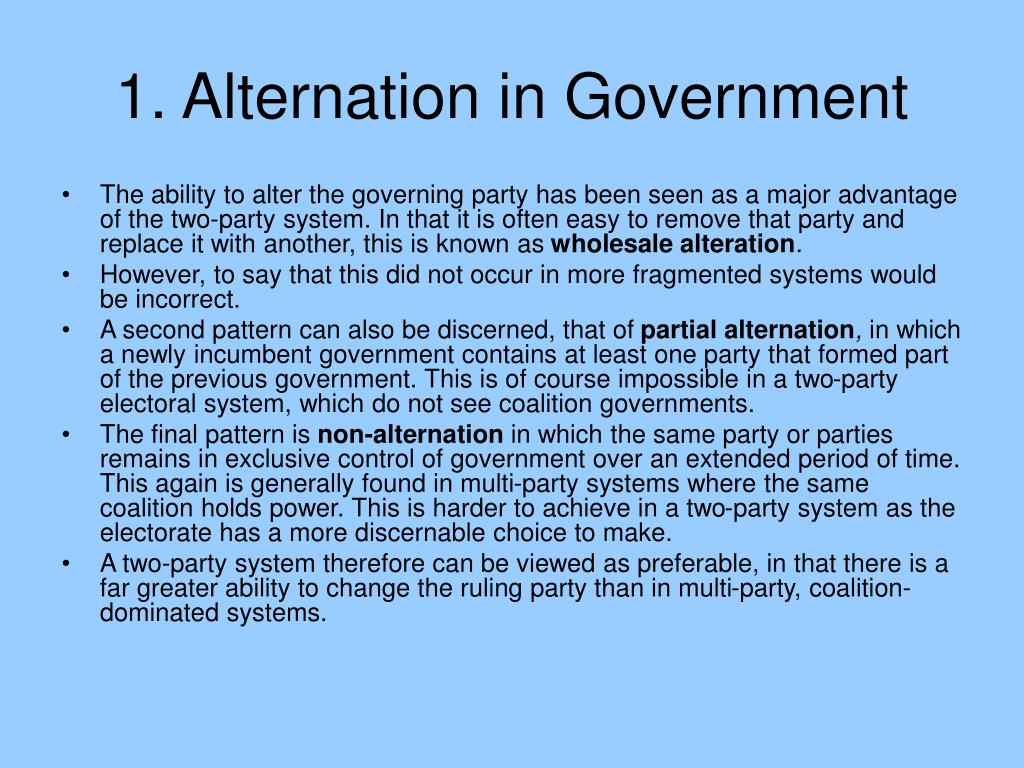 1. Alternation in Government