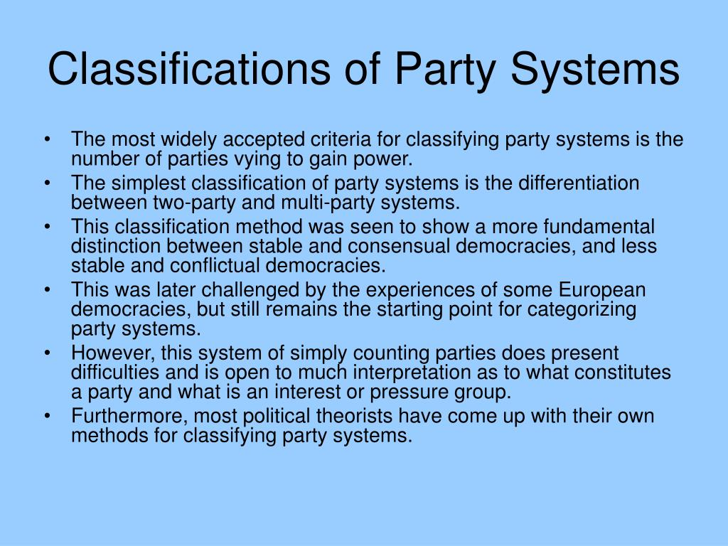 Classifications of Party Systems