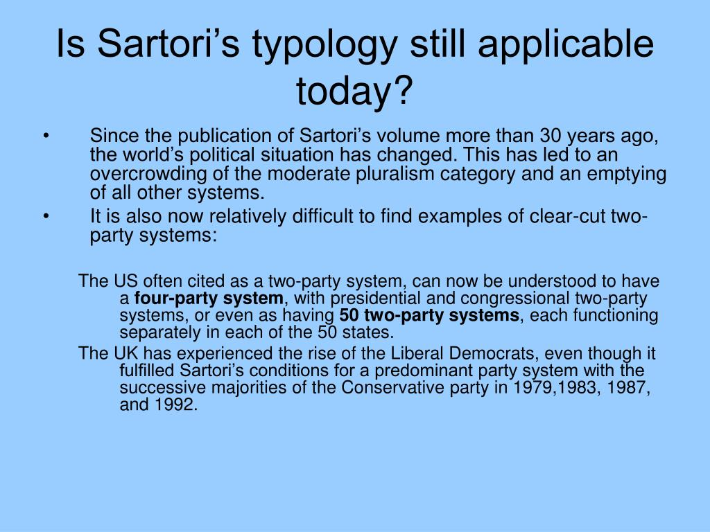 Is Sartori's typology still applicable today?