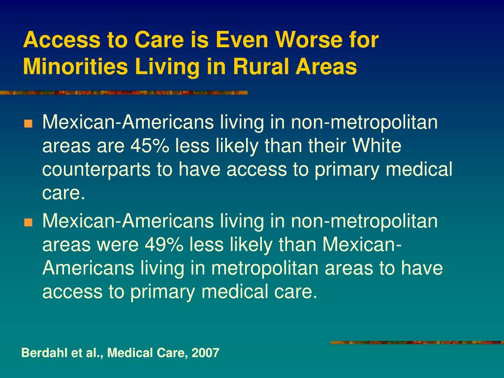 Access to Care is Even Worse for Minorities Living in Rural Areas