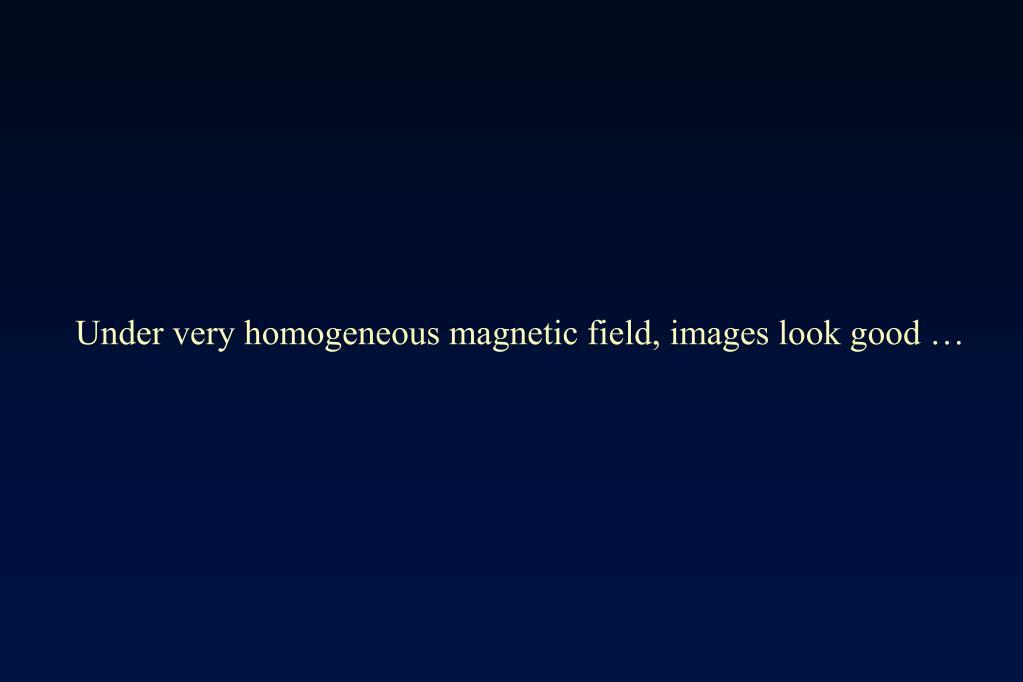 Under very homogeneous magnetic field, images look good …