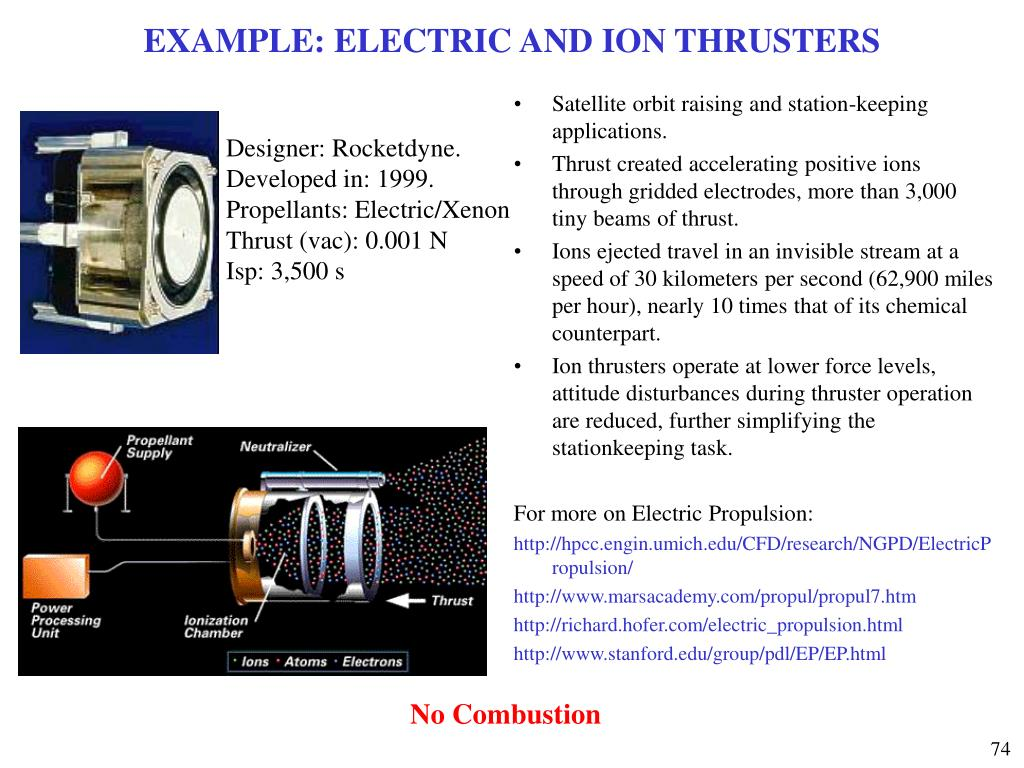 EXAMPLE: ELECTRIC AND ION THRUSTERS