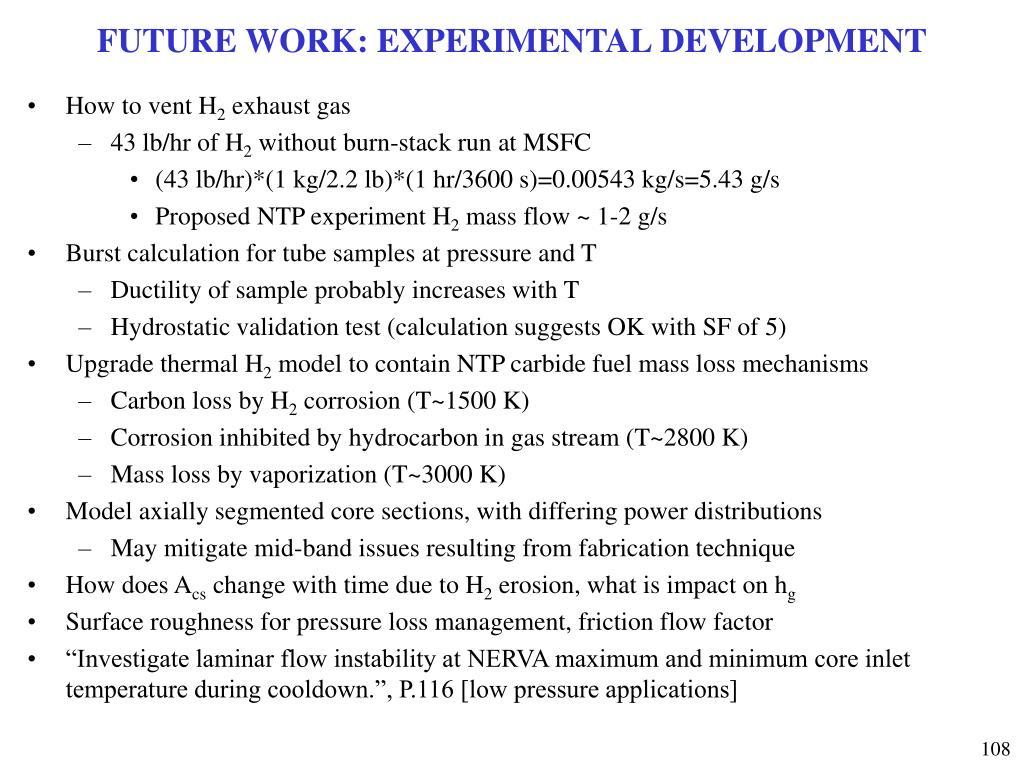 FUTURE WORK: EXPERIMENTAL DEVELOPMENT