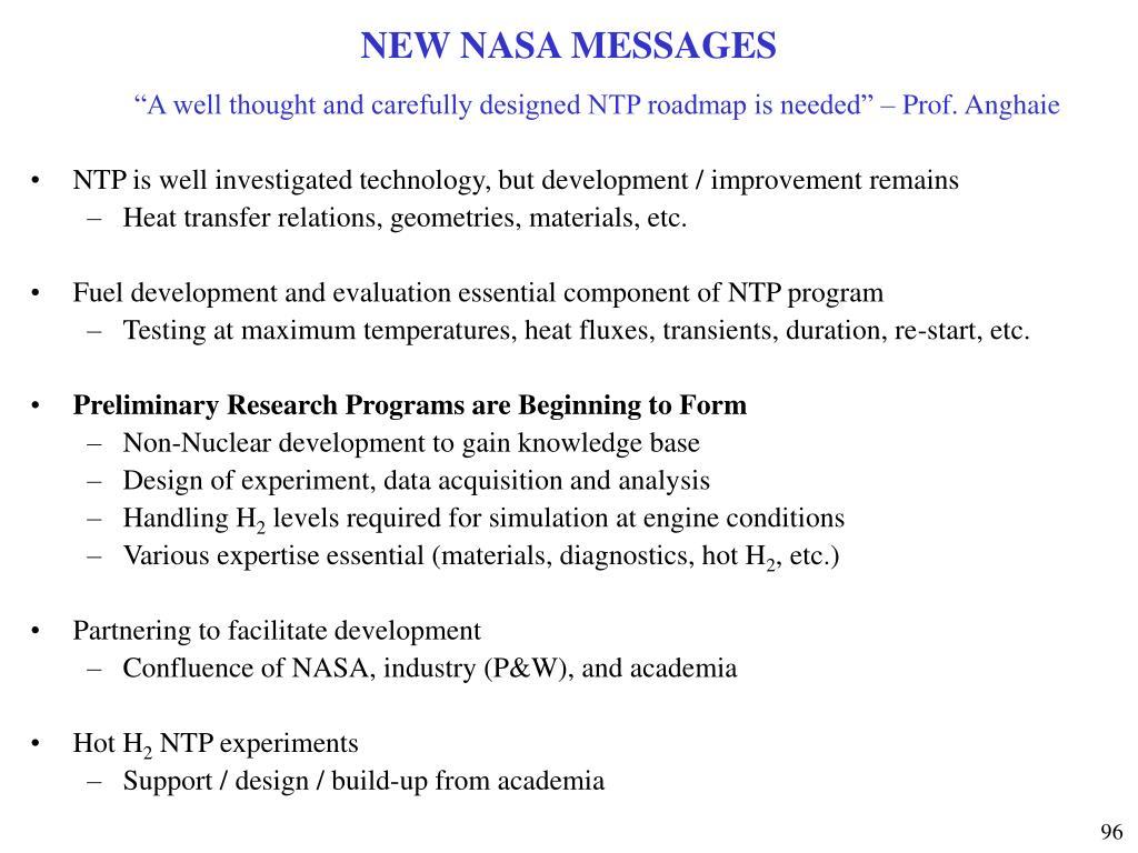 NEW NASA MESSAGES