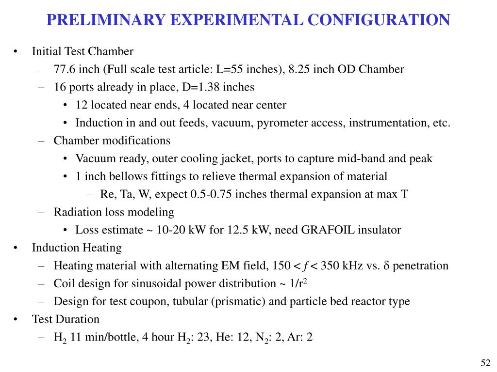 PRELIMINARY EXPERIMENTAL CONFIGURATION