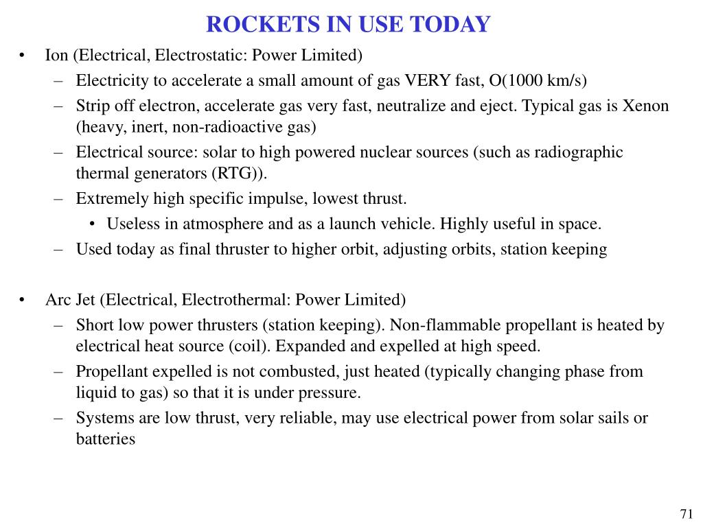 ROCKETS IN USE TODAY