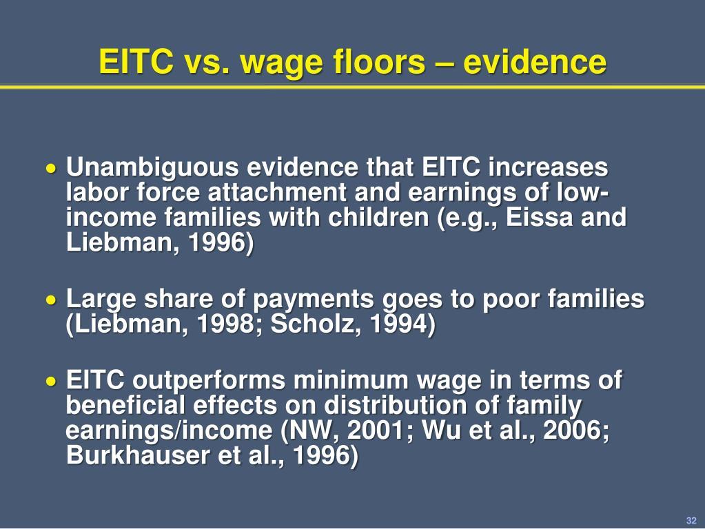 EITC vs. wage floors – evidence