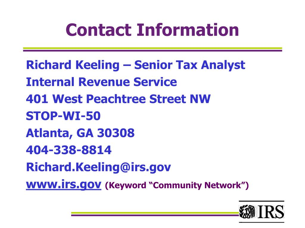 Richard Keeling – Senior Tax Analyst