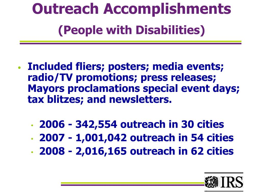 Outreach Accomplishments