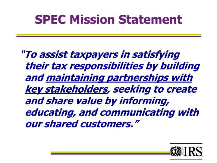 Spec mission statement