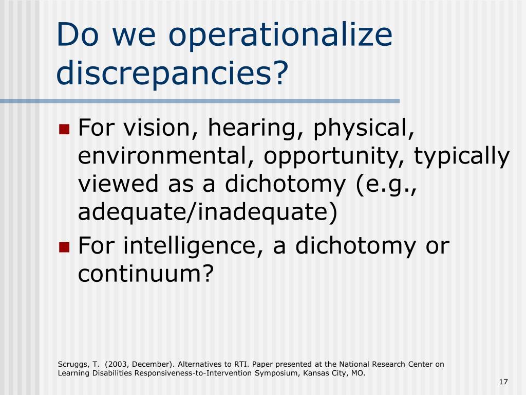 Do we operationalize discrepancies?