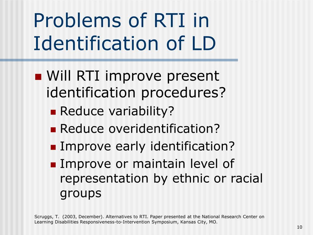 Problems of RTI in Identification of LD