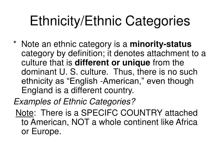 Ethnicity/Ethnic Categories