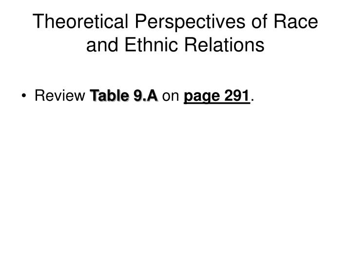 Theoretical Perspectives of Race and Ethnic Relations
