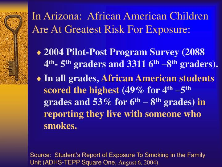 In Arizona:  African American Children Are At Greatest Risk For Exposure: