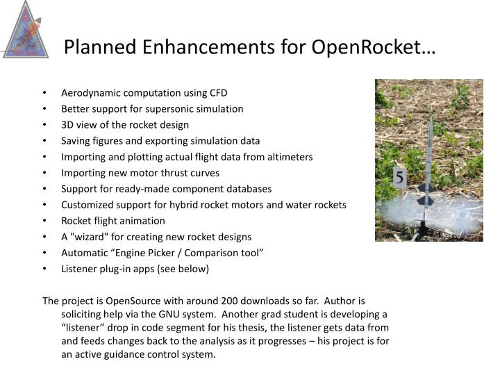 Planned Enhancements for OpenRocket…