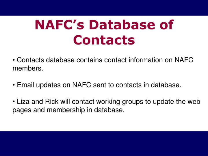 NAFC's Database of Contacts
