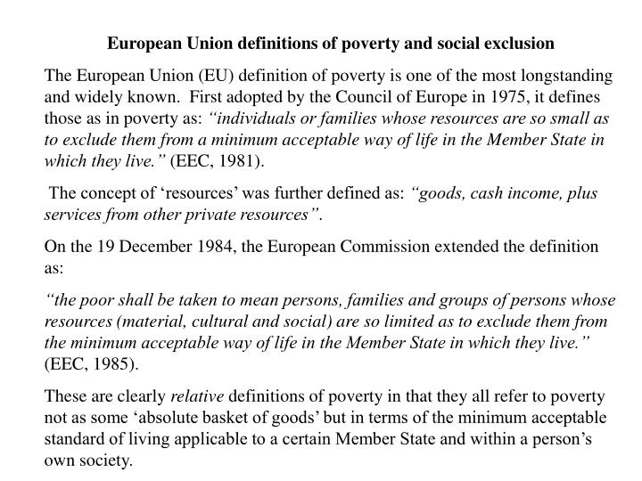 European Union definitions of poverty and social exclusion