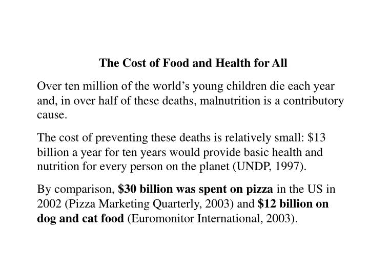 The Cost of Food and Health for All
