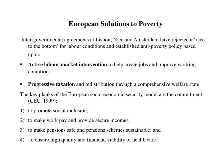 European Solutions to Poverty