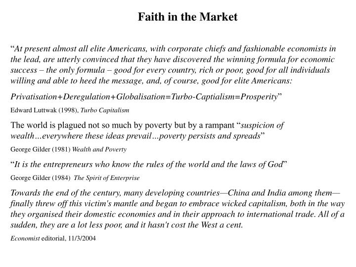 Faith in the Market
