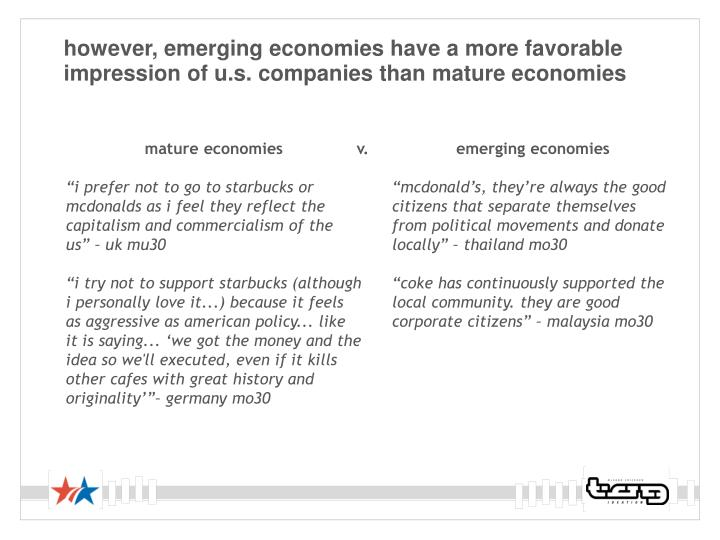 however, emerging economies have a more favorable impression of u.s. companies than mature economies